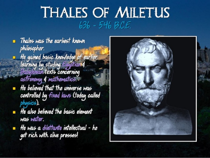 thales of miletus greek domain Thales of miletus (first half sixth century bce): half legendary greek philosopher and scientist we know almost nothing about thales of miletus later generations told many anecdotes about this man, who was reckoned among the seven sages, but it is difficult to verify the reliability of these stories.