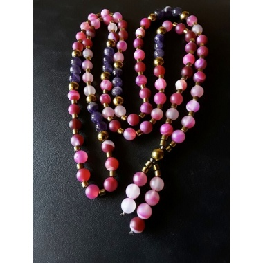 Buddha's Purple Touch, 108 Pure Prayer Beads Necklace