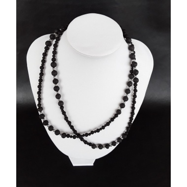 Elegant Volcanic Black Lava Stone, Hematite and Pure 925 Silver Necklace