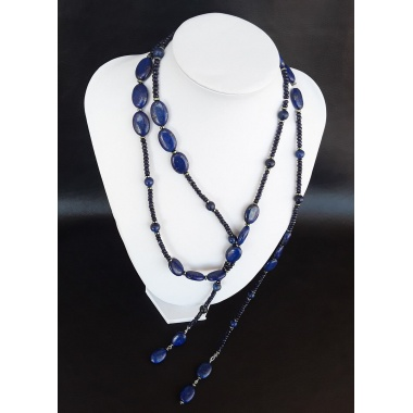 Atlantis Luxueuse Necklace - Made of Sapphire, Lapis Lazuli, Hematite and Pure Silver