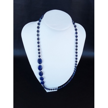 Atlantis Pearls – The Silver Lapis Lazuli Swarovski Crystal Necklace