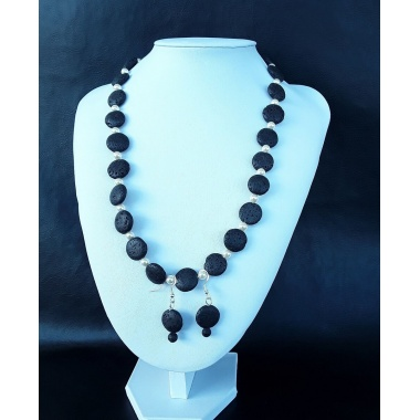 Black Lava Stone Swarovski Pearls Jewelry Set