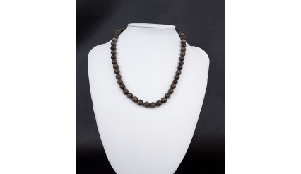 Natural Black Petrified Wood Necklace