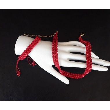 Blood Flower of the Marquis Choker and Bracelet Jewelry Set