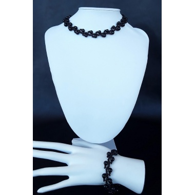 The Black Dawn Moon Bracelet and Choker Jewelry Set