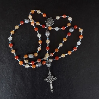 5 Decade Rosary with Immaculate Heart of Mary Pray for us medal, the Heavens light