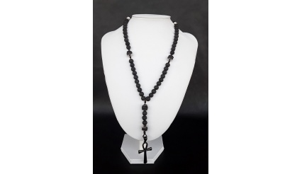 The Ankh 5 Decade Catholic Rosary made of Lava Stone
