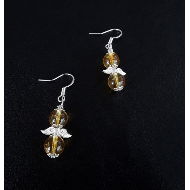 Angelic Wings Citrine and 925 Silver earrings