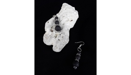 The Volcanic Lava Stone Earrings Set