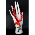 The Red Silver Military 550 Paracord Wrist Rosary