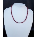 Ruby Silver Cross Necklace