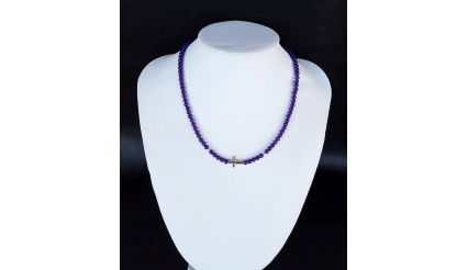 The Purple Amethyst Silver Cross Necklace