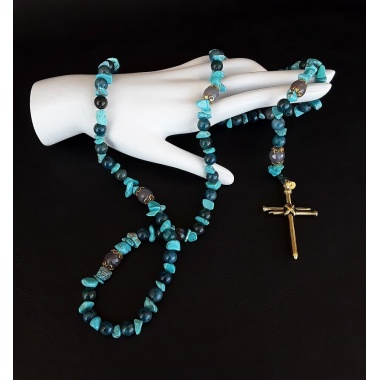 The Blue Christ Nail 5 Decade Catholic Rosary