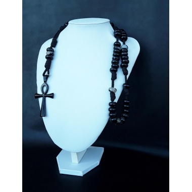 The Black Agate Ankh 5 Decade Catholic Rosary