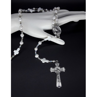 The Pearl Moonstone 5 Decade Catholic Rosary (Large)