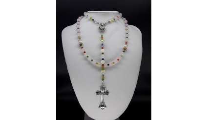 The White Pearl 5 Decade Catholic Rosary